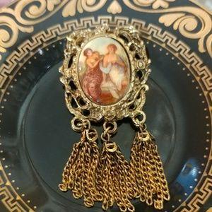 Vintage Baroque Brass Brooch